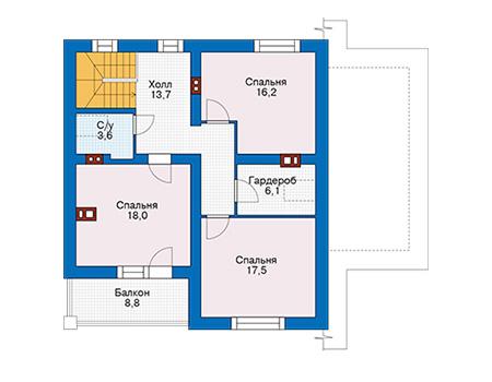Проект кирпичного дома 74-11 план