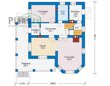 Проект кирпичного дома 74-12 план