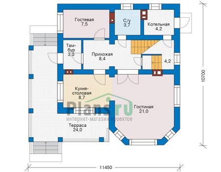 Проект кирпичного дома 74-14 план