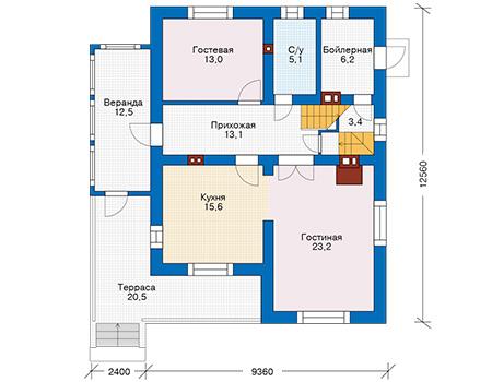 Проект кирпичного дома 74-17 план