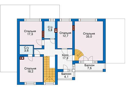 Проект кирпичного дома 74-22 план