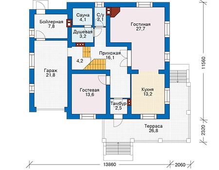 Проект кирпичного дома 74-23 план