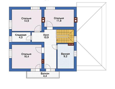 Проект кирпичного дома 74-24 план