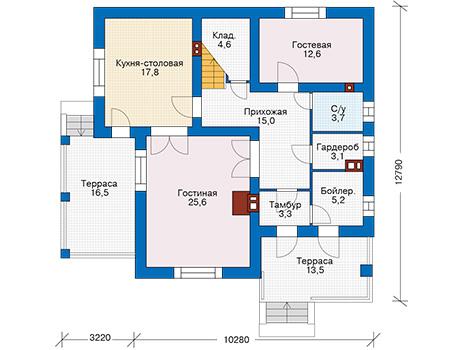 Проект кирпичного дома 74-25 план