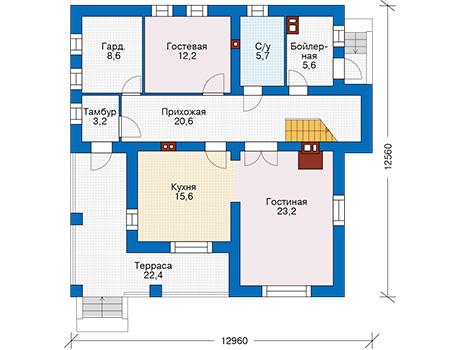Проект кирпичного дома 74-30 план