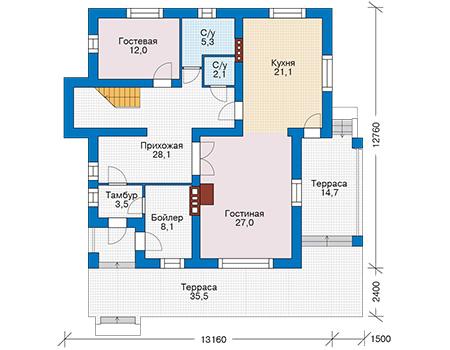 Проект кирпичного дома 74-31 план