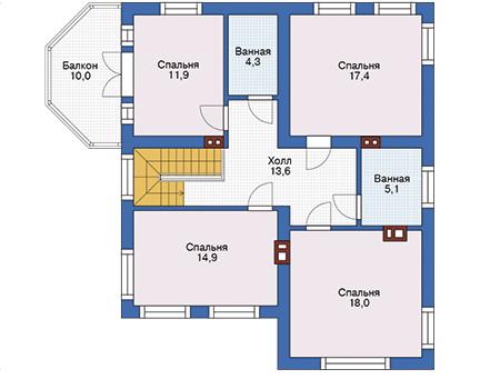 Проект кирпичного дома 74-33 план