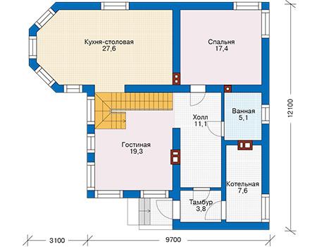 Проект кирпичного дома 74-34 план