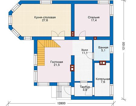 Проект кирпичного дома 74-35 план