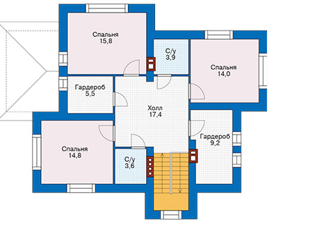 Проект кирпичного дома 74-41 план