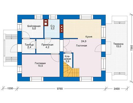 Проект кирпичного дома 74-42 план