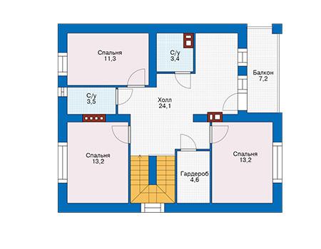 Проект кирпичного дома 74-43 план