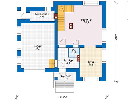 Проект кирпичного дома 74-44 план