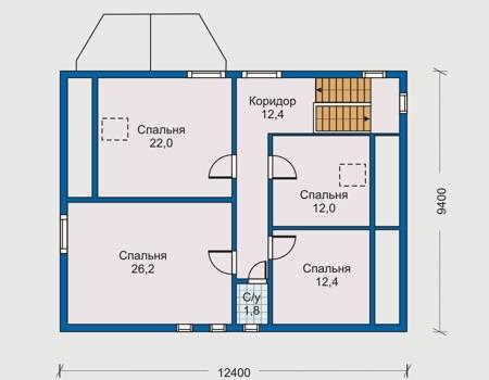 Проект деревянного дома 10-04 план