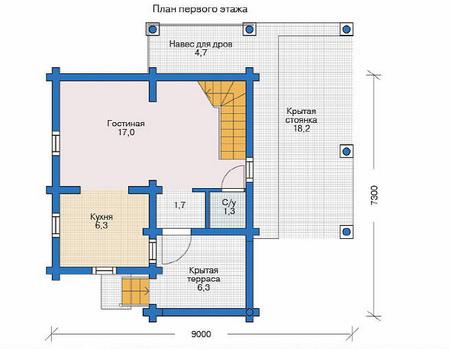 Проект деревянного дома 11-46 план