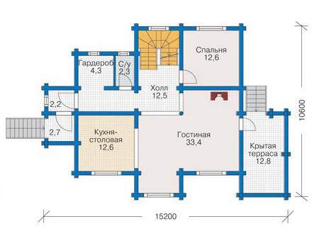 Проект деревянного дома 11-48 план