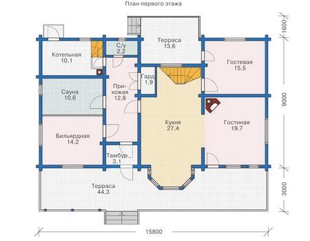 Проект деревянного дома 11-70 план