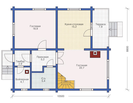 Проект деревянного дома 11-71 план