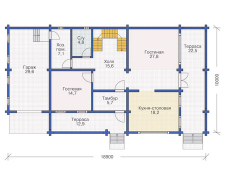 Проект деревянного дома 11-73 план