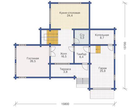 Проект деревянного дома 11-74 план