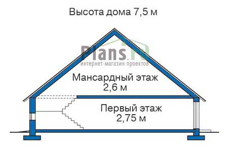 Проект деревянного дома 11-75 план