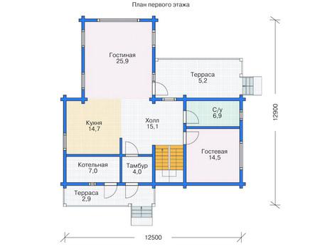 Проект деревянного дома 11-78 план