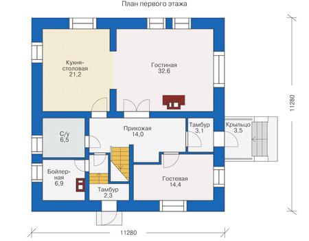 Проект деревянного дома 12-00 план