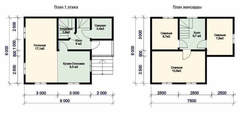 Проект дома из бруса Д48 план