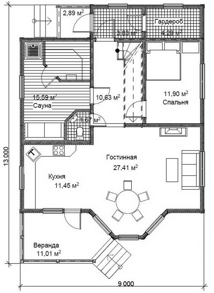 Проект дома из бруса Д51 план