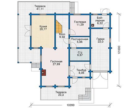 Проект деревянного дома 12-82 план