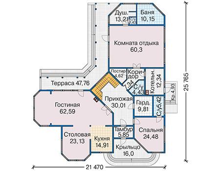 Проект деревянного дома 12-83 план