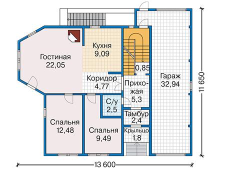 Проект деревянного дома 12-84 план