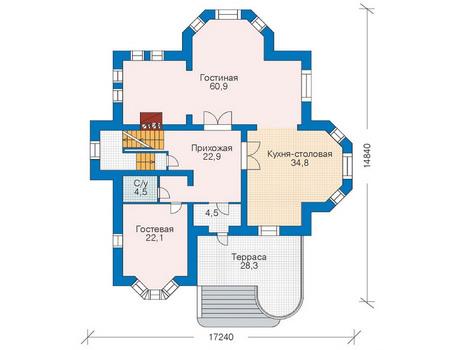 Проект кирпичного дома 35-37 план