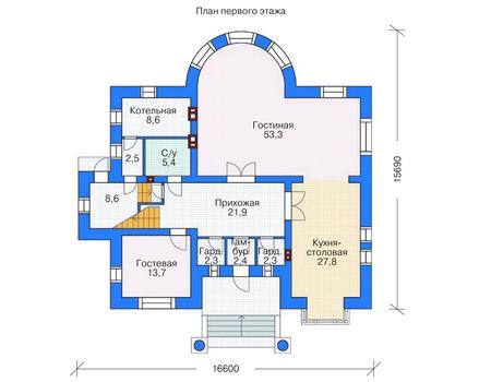 Проект кирпичного дома 36-62 план