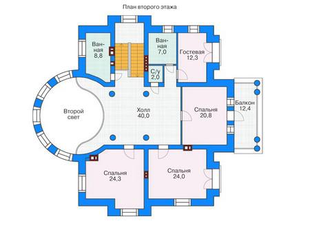 Проект кирпичного дома 36-74 план