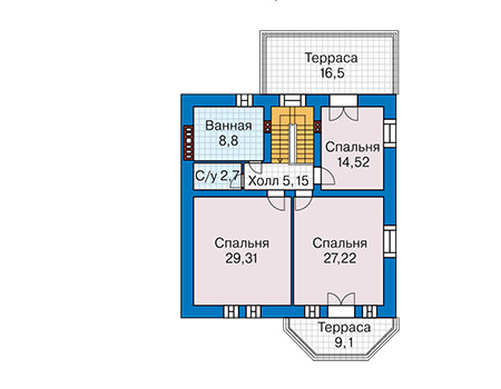 Проект кирпичного дома 41-32 план