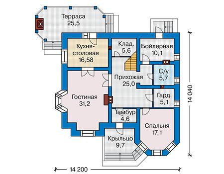 Проект кирпичного дома 41-43 план