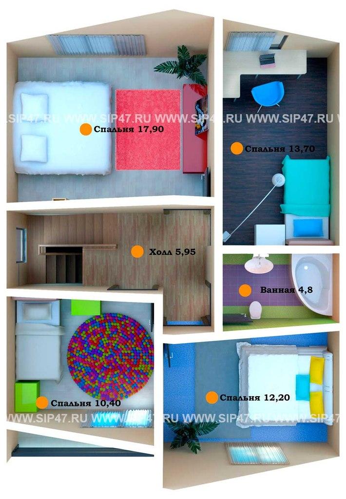Типовой проект дома из СИП-панелей №1 план