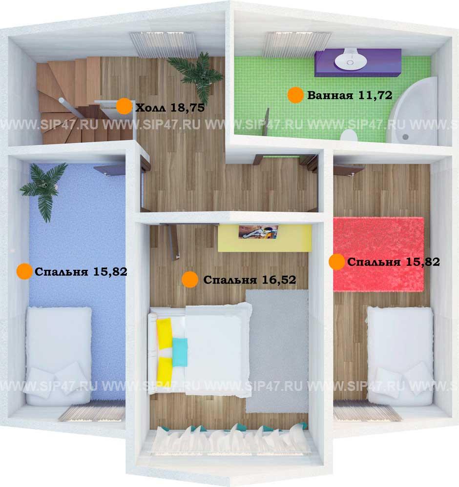 Типовой проект дома из СИП-панелей  №2 план