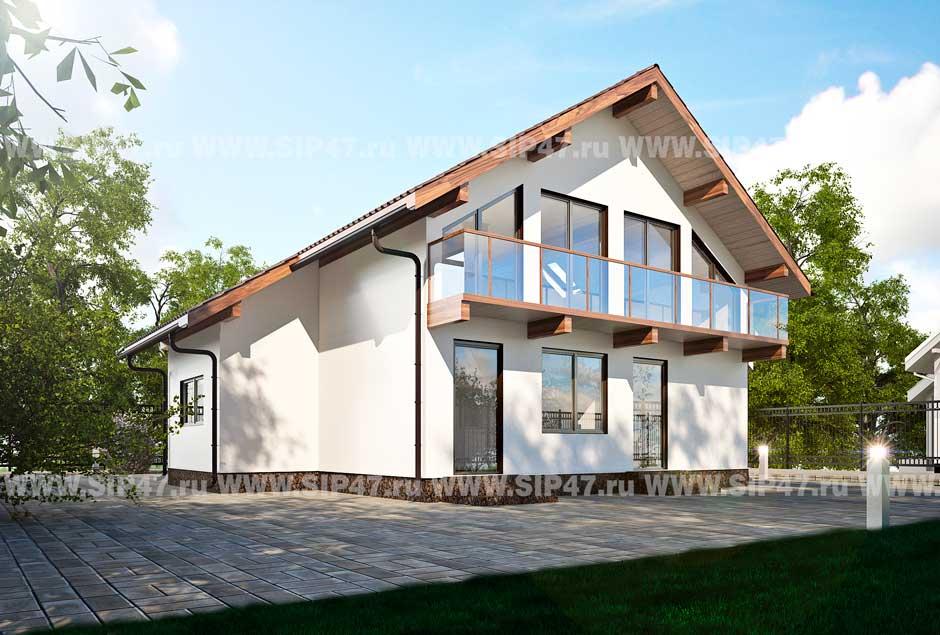 Типовой проект дома из СИП-панелей №5 фасад
