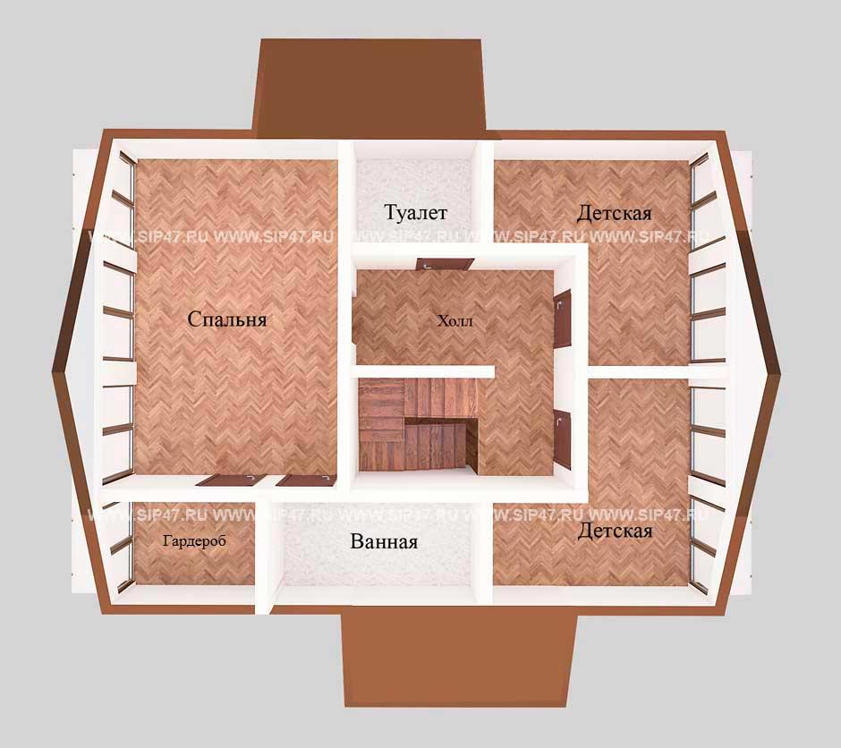 Типовой проект дома из СИП-панелей №5 план