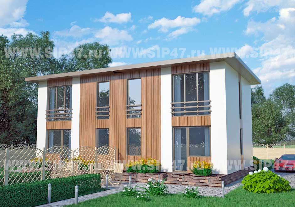Типовой проект дома из СИП-панелей №6 (Дом на две семьи) фасад