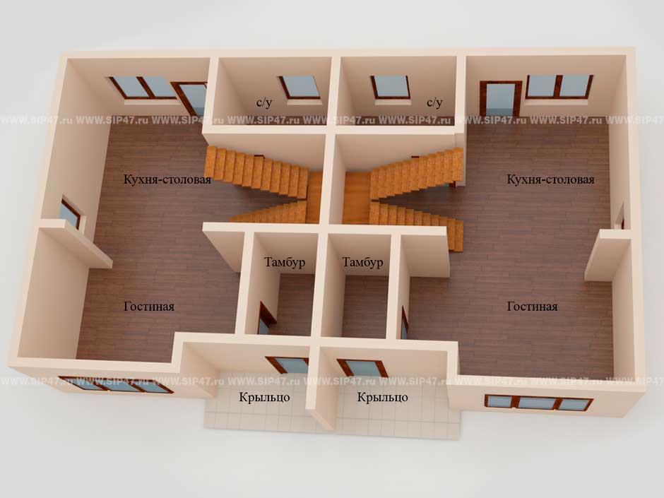 Типовой проект дома из СИП-панелей №6 (Дом на две семьи) план