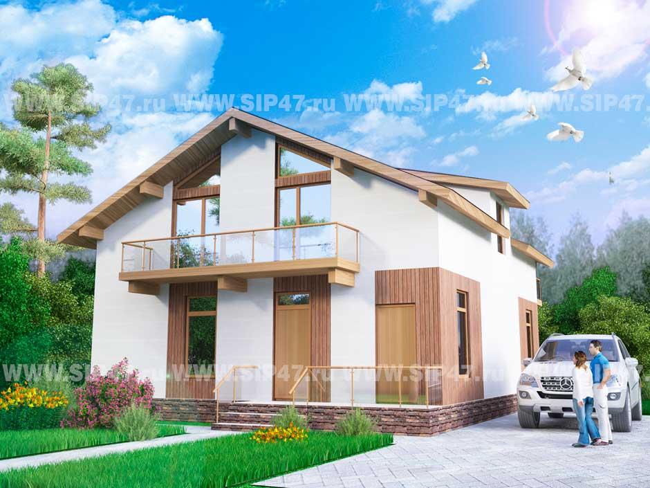 Типовой проект дома из СИП-панелей №7 фасад