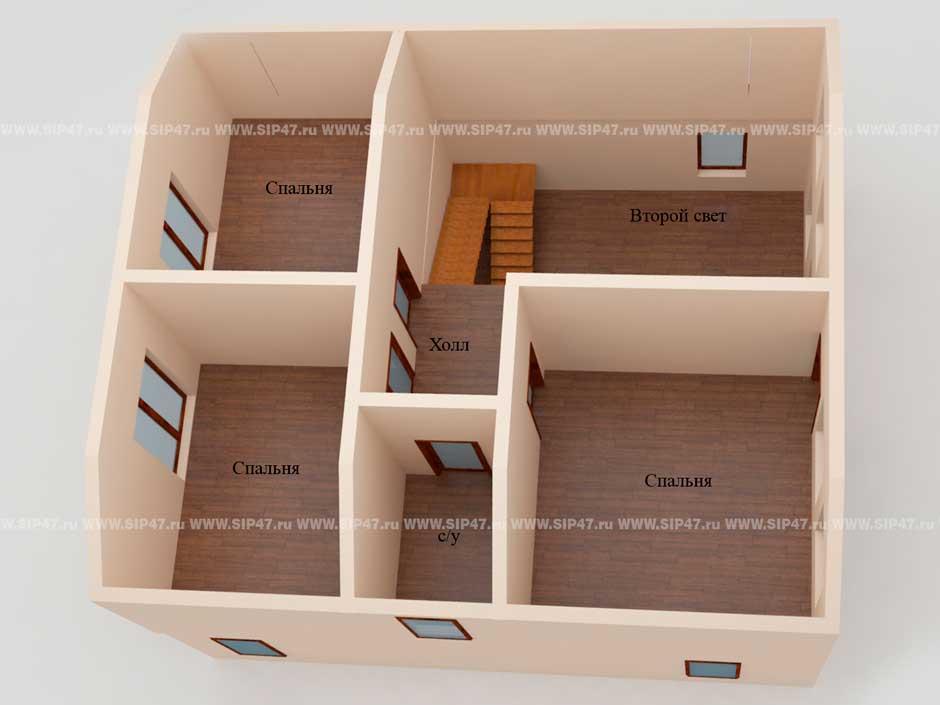 Типовой проект дома из СИП-панелей №7 план