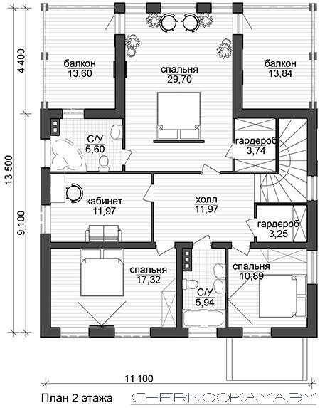 Современные проект дома №1565 план