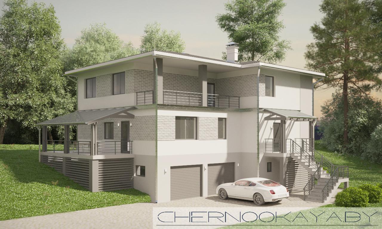 Проект дома на склоне №1538 фасад