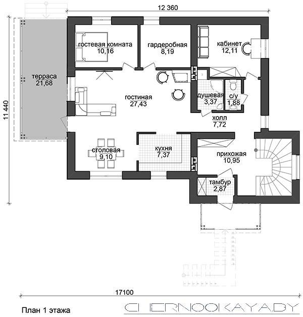 Проект дома на склоне №1538 план