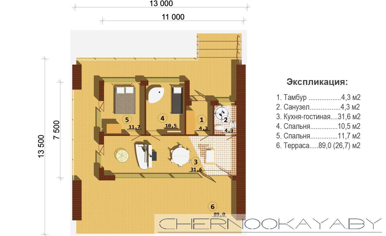 Современный проект дома №1500 план