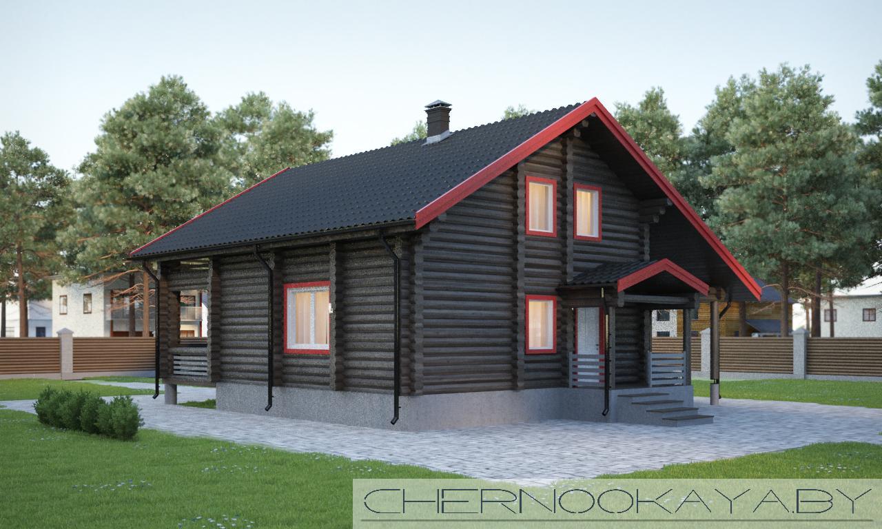 Проект деревянного дома №1573 фасад